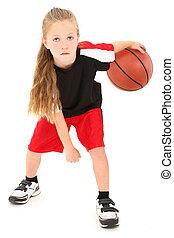籃球, 女孩, 表演者, 在上方, 在之間, 制服, 背景。, 球, 孩子, 嚴肅, 白色, 腿, 滴下