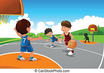 籃球, 玩, 操場, 孩子