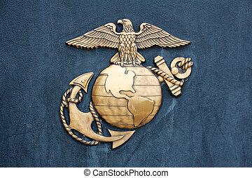 米国海兵隊, バッジ, 中に, 金, 上に, 青
