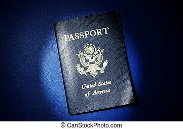 米国 パスポート, 上に, 青い背景