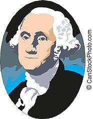 米国, ベクトル, portrait., ワシントン, 大統領, ジョージ, 最初に