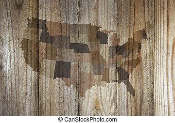 米国, 地図, 上に, 木製である, 背景