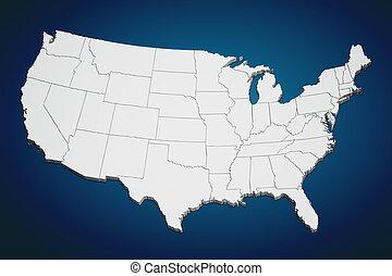 米国, 地図, 上に, 青