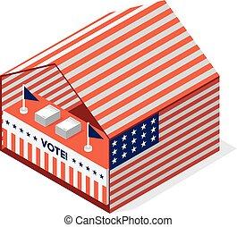 米国, 選挙, テント, 大統領である, vote.