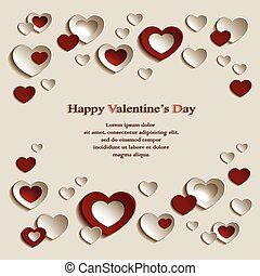 米色的背景, 心, valentine, 红