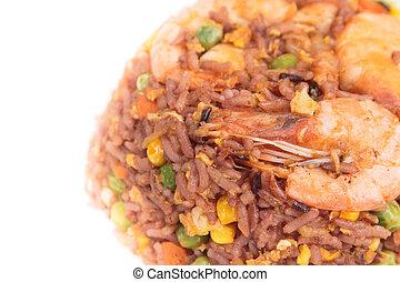 米, 揚げられていたエビ
