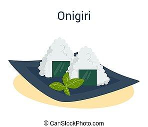 米, onigiri, 日本語, nori., 料理, プレート。
