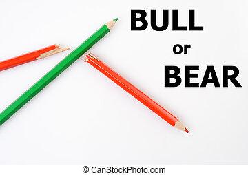 粉笔, 概念, 图表, 做, 绿色的市场, 红, 股票