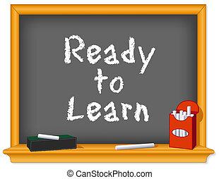 粉筆, 准備好, 板, 學習