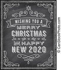 粉筆, 問候, 'merry, 圣誕節卡片, 畫, 矢量