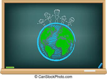 粉筆, 地球, 孩子, 圖畫