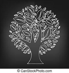 粉筆, 黑色, 摘要, 樹, 板
