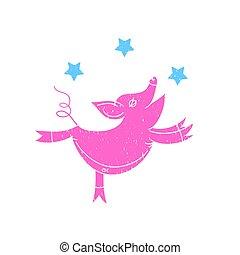 粉紅的豬, 矢量, illustration.