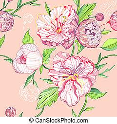 粉紅背景, seamless, 牡丹