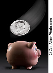 粉紅色的piggy, bank.