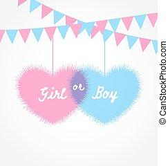 粉紅色, 以及藍色, 嬰兒送禮會, 在, 形式, 心, 由于, 懸挂, pennants