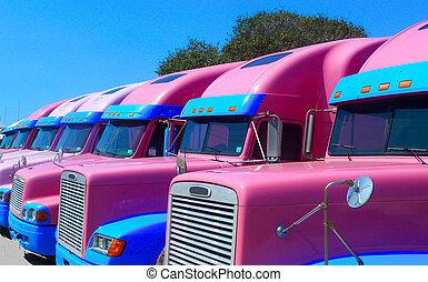 粉紅色, 半, 卡車