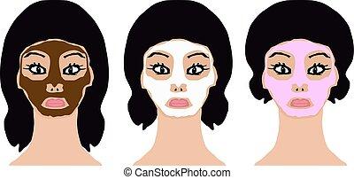 粉紅色, 布朗, face., 面罩, 化妝品, 插圖, 被隔离, 背景。, infographics., 矢量, 白色