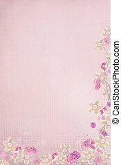粉紅色, 帶子, 以及, 花卉疆界