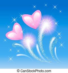 粉紅色, 心, 在, the, 天空