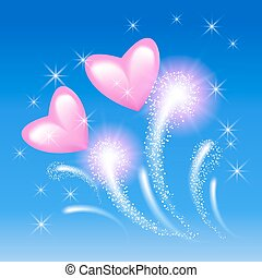 粉紅色, 心, 天空