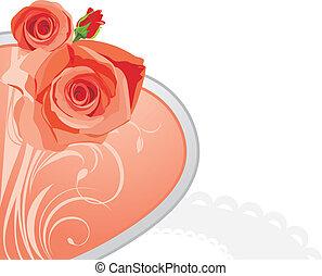 粉紅色, 心, 由于, 玫瑰