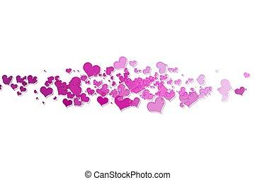 粉紅色, 心, 由于, 白色 背景