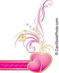 粉紅色, 心, 由于, 裝飾, sprig