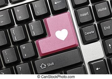 粉紅色, 心, 符號,  -, 鑰匙, 鍵盤, 概念性