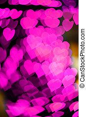 粉紅色, 心, bokeh, 如, 背景