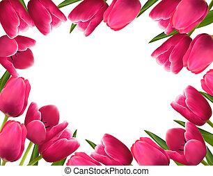 粉紅色, 新鮮, 春天花, 背景。, 矢量, 插圖