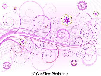 粉紅色, 植物, 卡片, (vector), 雅致