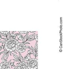 粉紅色, 牡丹, 圖案, seamless, 手, 背景。, 矢量, 畫