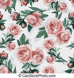 粉紅色, 牡丹, 圖案, seamless, 矢量, 植物