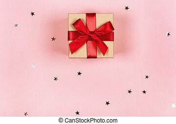 粉紅色, 紅的背景, 禮物, 弓