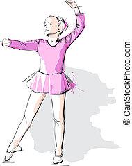 粉紅色, 芭蕾舞女演員, 很少, pointe, 女孩, 衣服