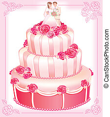粉紅色, 蛋糕, 矢量, 婚禮