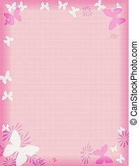 粉紅色, 蝴蝶, 邊框