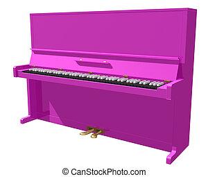 粉紅色, 鋼琴, 被隔离, 上, a, 白色 背景