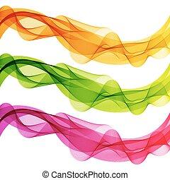 粉紅色, 集合, 摘要, 線, 被隔离, 波浪, 背景。, 黃色, 綠色, 白色