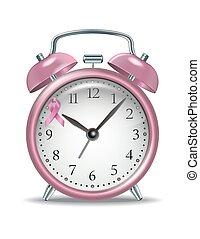 粉紅色, 鬧鐘, 由于, 粉紅的帶子