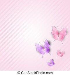 粉紅色, butterflies., 鑲邊背景