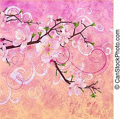 粉紅色, grunge, 桃, 櫻桃樹, 顏色, 背景, 開花