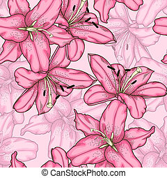 粉紅色, lily., seamless, 背景