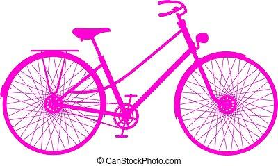 粉红色, 侧面影象, 在中, retro, 自行车