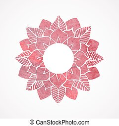 粉红色, 带子, 框架, pattern., 元素, watercolor, 矢量, 植物群
