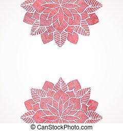粉红色, 带子, 模式, watercolor, 背景。, 矢量, 植物群, 白色