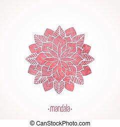 粉红色, 带子, pattern., watercolor, 矢量, 坛场, element.