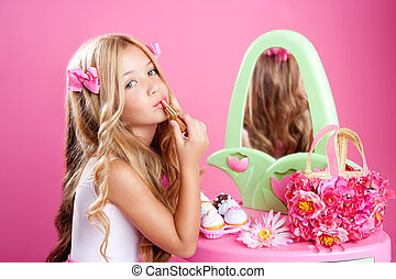 粉红色, 很少, 方式, lipstick, 玩具娃娃, 构成, 女孩, 孩子, 空虚