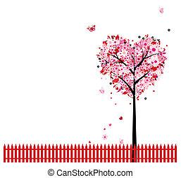 粉红色, 心, 树, 形状, 设计, 植物群, 你